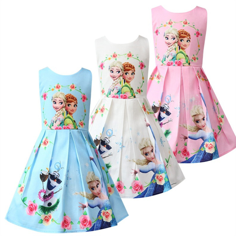 Kid Girl Print Princess Flowers A-line Dresses