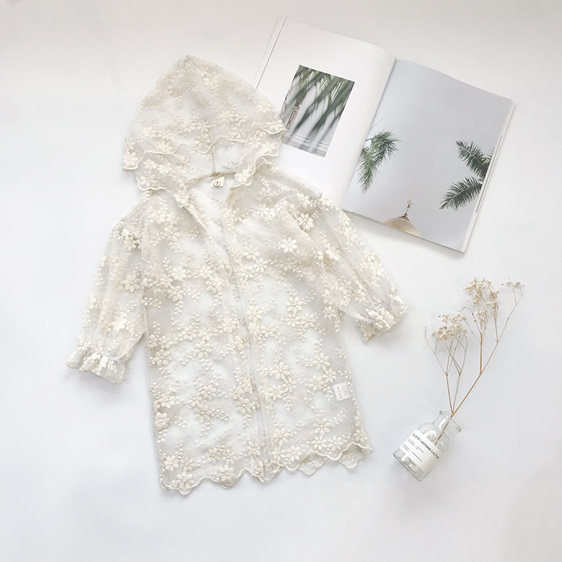 Kid Girl White Lace Crochet Flowers Hooded Thin Coat