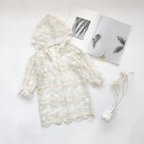 Kid Girl White Lace Crochet Flowers Hooded Thin Coat