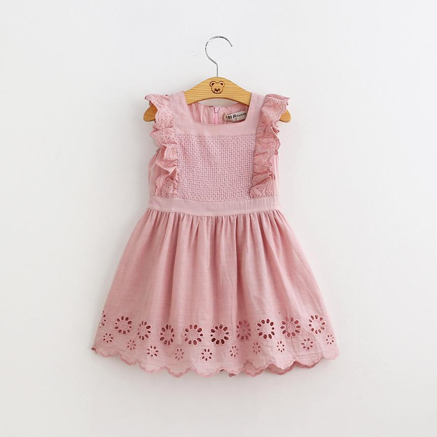 Kid Girl Ruffles Crocheting Pink Dress
