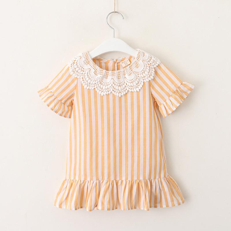 Kid Girl Lace Flowers Ruffles Stripes Dress