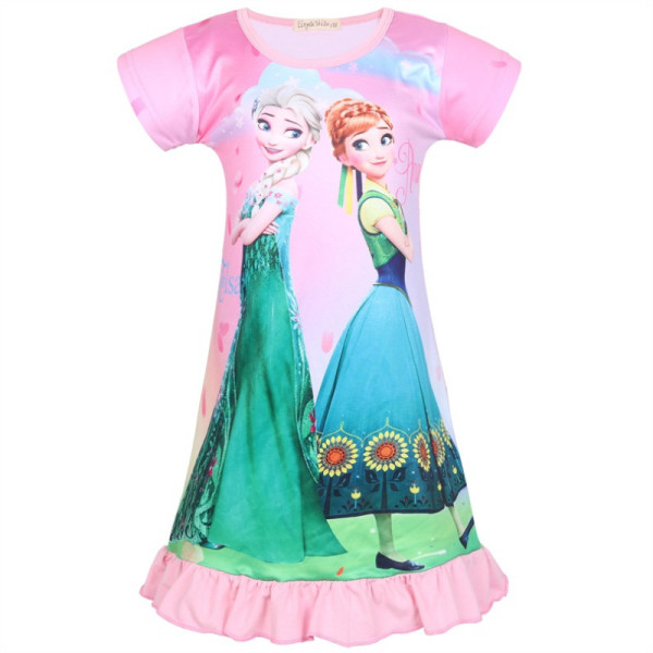 Kid Girl Pink Print Cartoon Princess Ruffles Sleepwear Dresses
