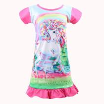 Kid Girl Print Rainbow Unicon Ruffles Sleepwear Dresses