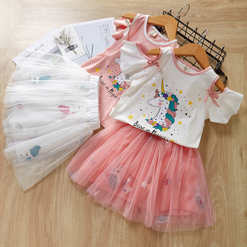 Kid Girl Print Unicon Stars Off Shoulder Ruffles Bloues and Tutu Skirt Two-piece Outfit