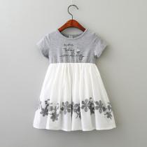 Kid Girl Print Slogan Crochet Casual Dress