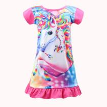 Kid Girl Rainbow Unicon Ruffles Pink Sleepwear Dresses