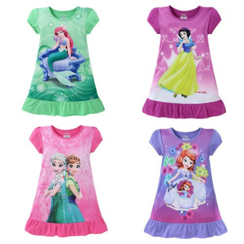 Kid Girl Print Cartoon Princess Ruffles Sleepwear Dresses