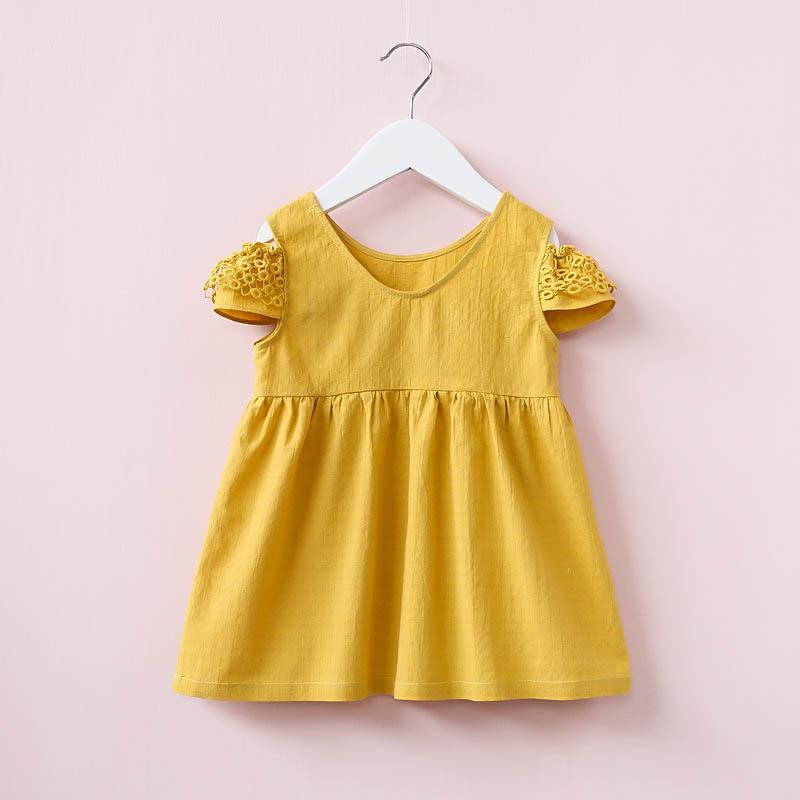 Kid Girl Yellow Crochet Ruffles Casual Dress