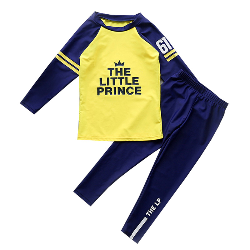 Kid Boys Underwater Diving Print Slogan Swimwear Sets Long Sleeves Top and Truck With Swim Cap