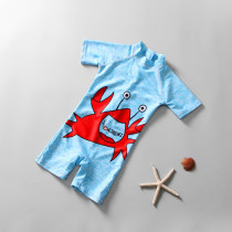 Kid Boys Print Crab Blue Swimsuit