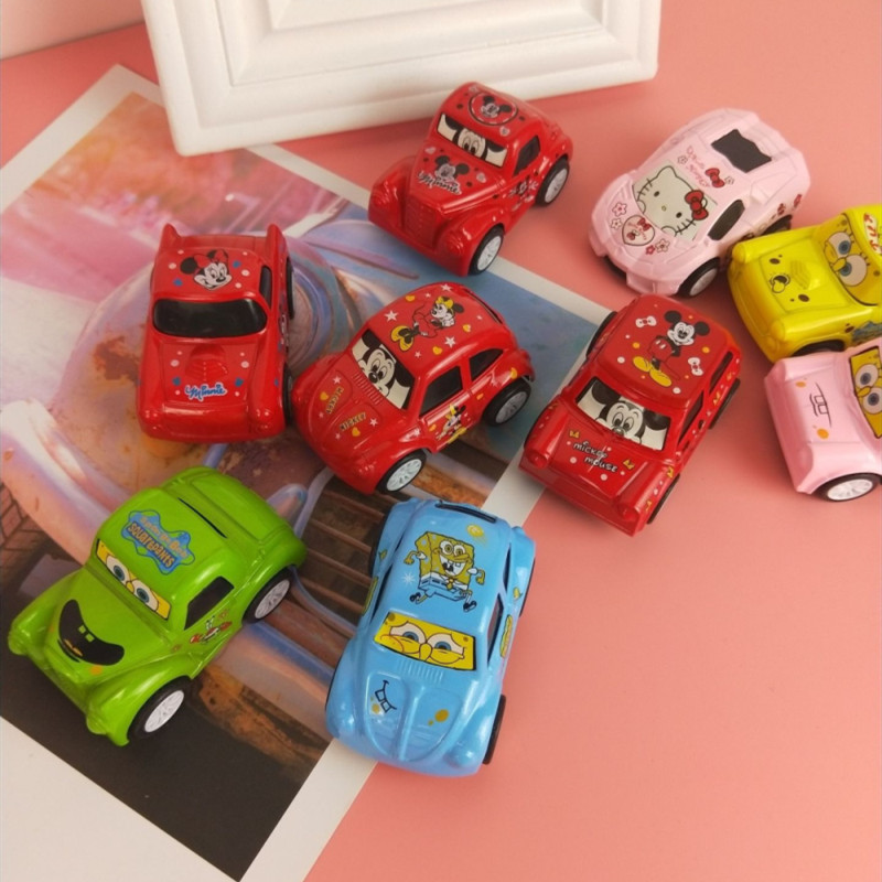 4 PCS Alloy Cute Cartoon Vehicles Toy Cars Model 1/64 Scale For 3Y+ Kids