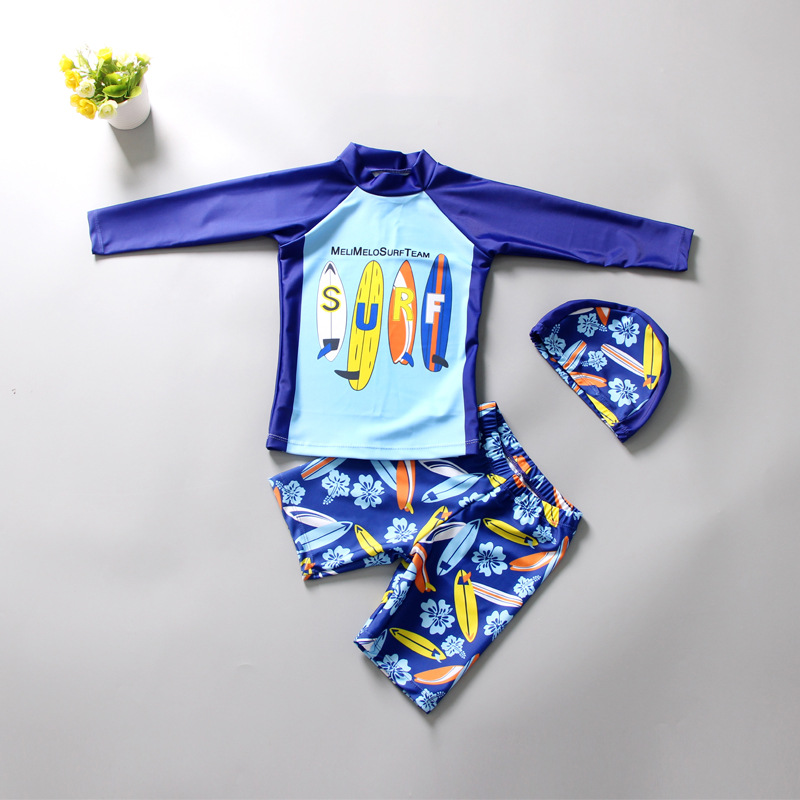 Kid Boys Print SURF Sailing Flowers Swimwear Sets Long Sleeves Top and Truck With Swim Cap