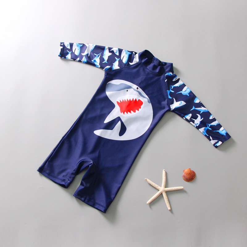 Kid Boys Print Shark One-Pieces Swimwear With Long Sleeves