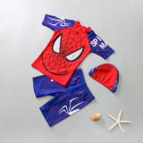 Kid Boys Print Spiderman Swimwear Set Short Top and Truck With Swim Cap