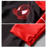 Kid Boys Print Spiderman Swimwear Sets Long Sleeves Top and Truck With Swim Cap
