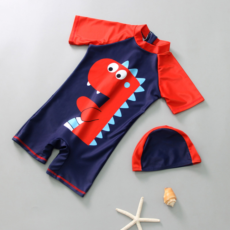 Kid Boys Print Dinosuar Swimsuit With Swim Cap