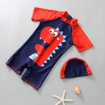 Kid Boys Print Dinosuar Swimsuit With Swim Cap