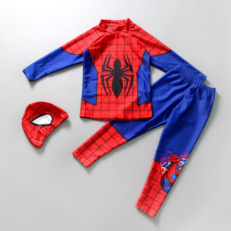 Kid Boys Underwater Diving Print Spiderman Swimwear Sets Long Sleeves Top and Truck With Swim Cap