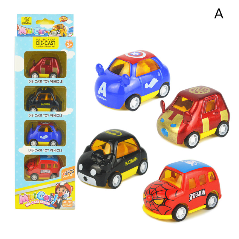 4 PCS Alloy Cartoon Cute Mini Animals Vehicles Toy Cars Model 1/64 Scale For 3Y+ Kids