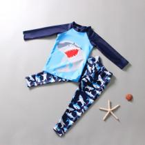 Kid Boys Print Shark Swimwear Sets Long Sleeves Top and Trunks
