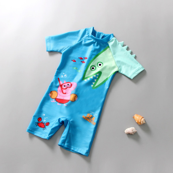 Kid Boys Print Peppa George Pig Shark One-Pieces Swimsuit