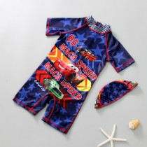 Kid Boys Print Cars Tow-Pieces Swimwear Short Top and Truck With Swim Cap