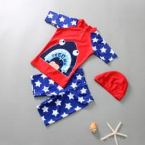 Kid Boys Print Shark Stars Swimwear Set Short Top and Truck With Swim Cap