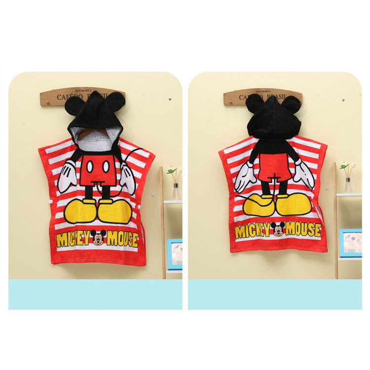 Baby Cartoon Mouse Hooded Bathrobe Towel Bathrobe Cloak Size 24 *47