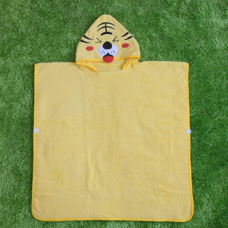 Yellow Tiger Hooded Bathrobe Towel Bathrobe Cloak For Toddlers & Kids