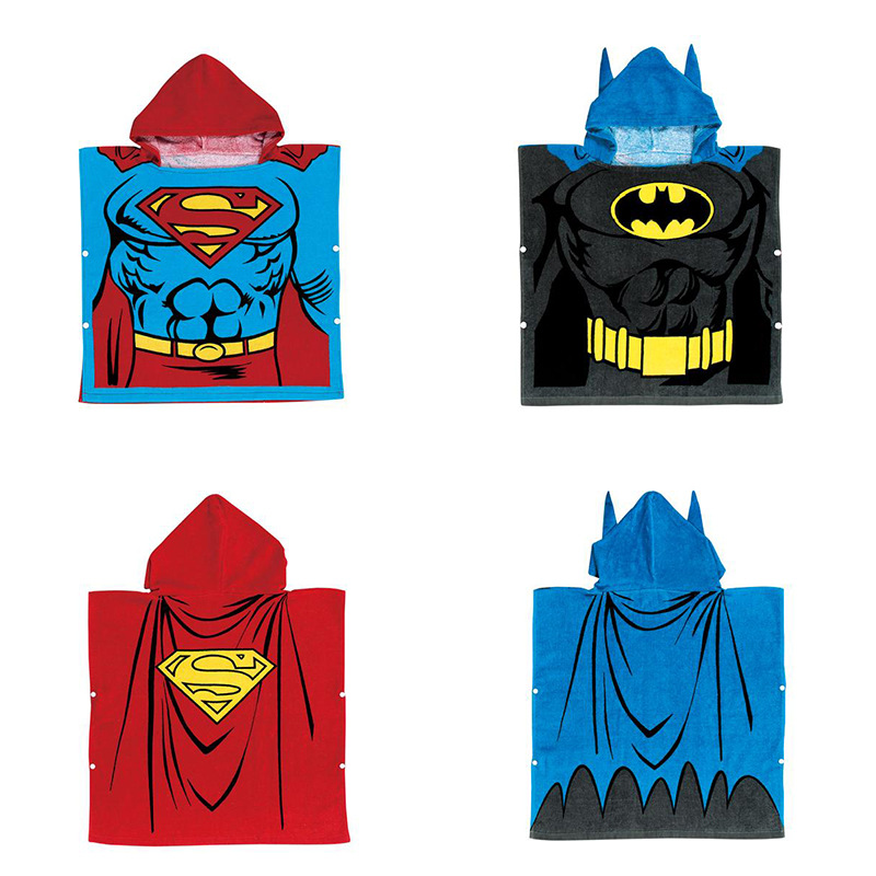 Super Man Hooded Bathrobe Towel Bathrobe Cloak For Toddlers & Kids Size 27.5*55inch