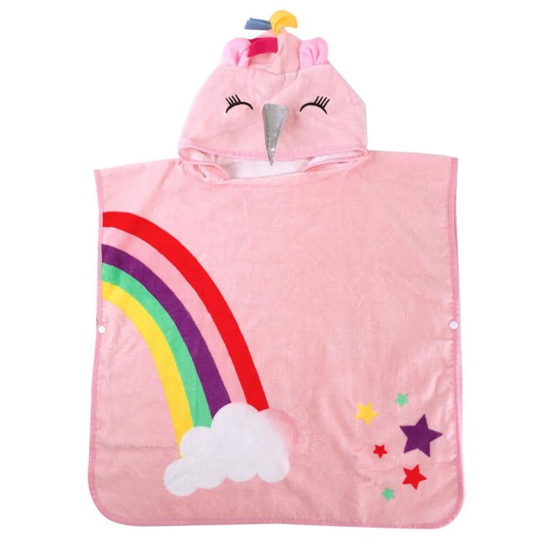 Pink Rainbow Unicon Hooded Bathrobe Towel Bathrobe Cloak For Toddlers & Kids Size 27.5*55inch