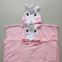 Pink Unicon Hooded Bathrobe Towel Bathrobe Cloak For Toddlers & Kids