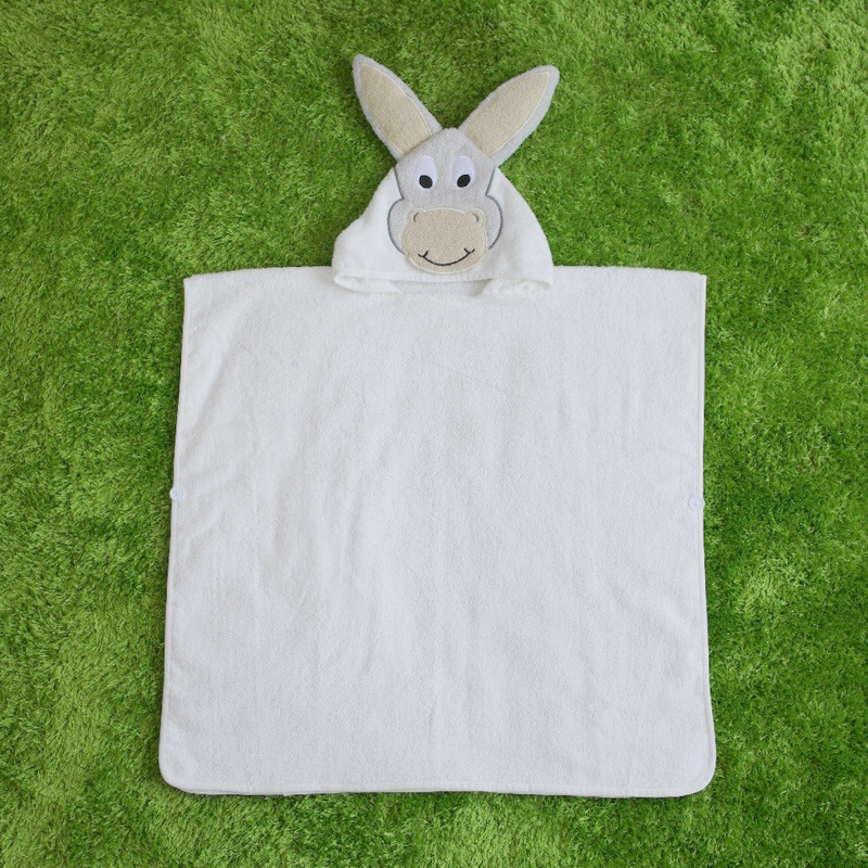 White Pony Hooded Bathrobe Towel Bathrobe Cloak For Toddlers & Kids