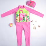 Kid Girls Print Pink Flamingos Float Adjustable Buoyancy Swimsuit with Cap