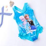 Kid Girls Print FROZEN Snowflake Ruffles Blue Swimsuit