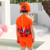 Kid Boys Print Spider Man Float Adjustable Buoyancy Swimsuit with Cap