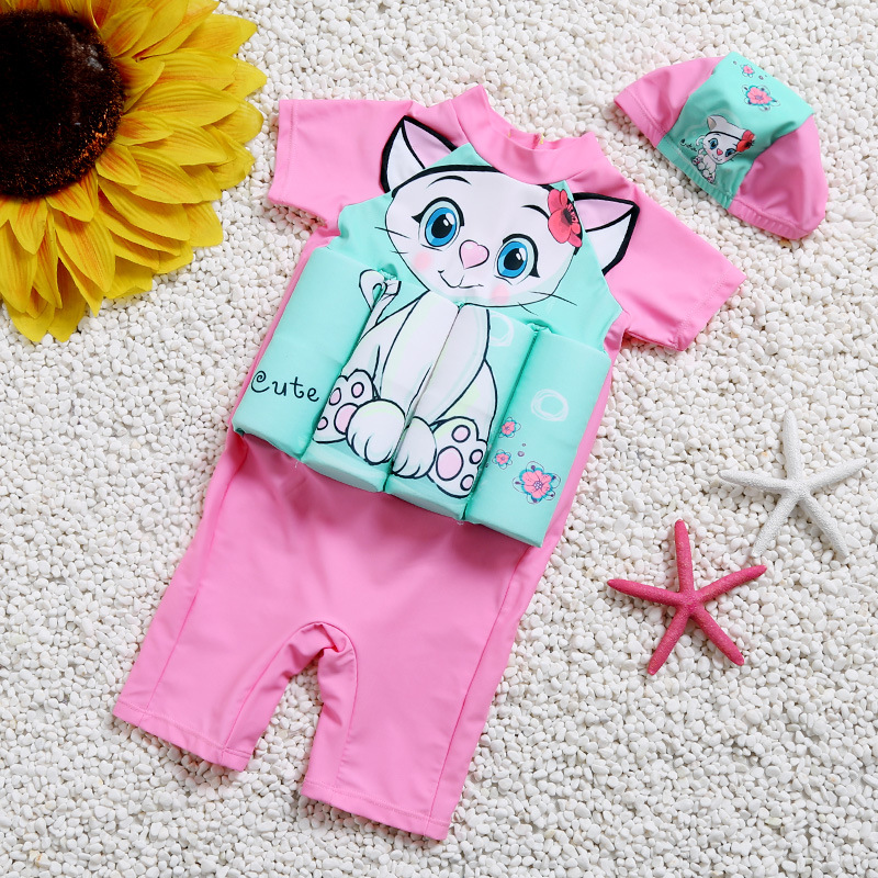 Kid Girls Print White Cute Cat Float Adjustable Buoyancy Pink Swimsuit with Cap
