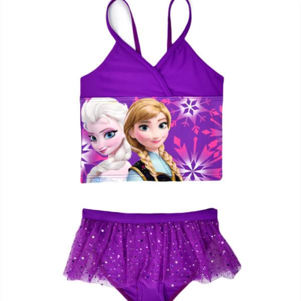 Kid Girls Print FROZEN Lisa Ruffles Purple Tutu Swimsuit Two-piece