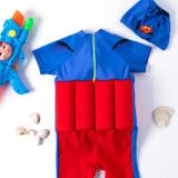Kid Boys Print Super Man Float Adjustable Buoyancy Blue Swimsuit with Cap
