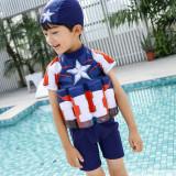 Kid Boys Print Captain America Float Adjustable Buoyancy Swimsuit with Cap