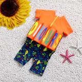 Kid Boys Print Dinosaurs Float Adjustable Buoyancy Swimsuit with Cap