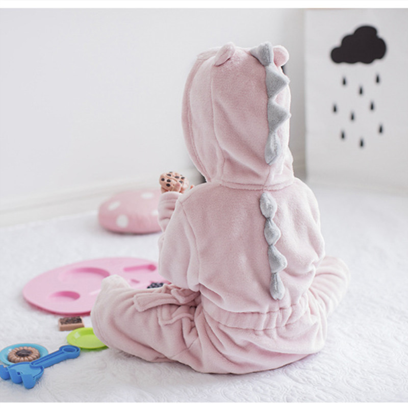 Kids Pink Dinosaur Hooded Bathrobe Sleepwear Comfortable Loungewear