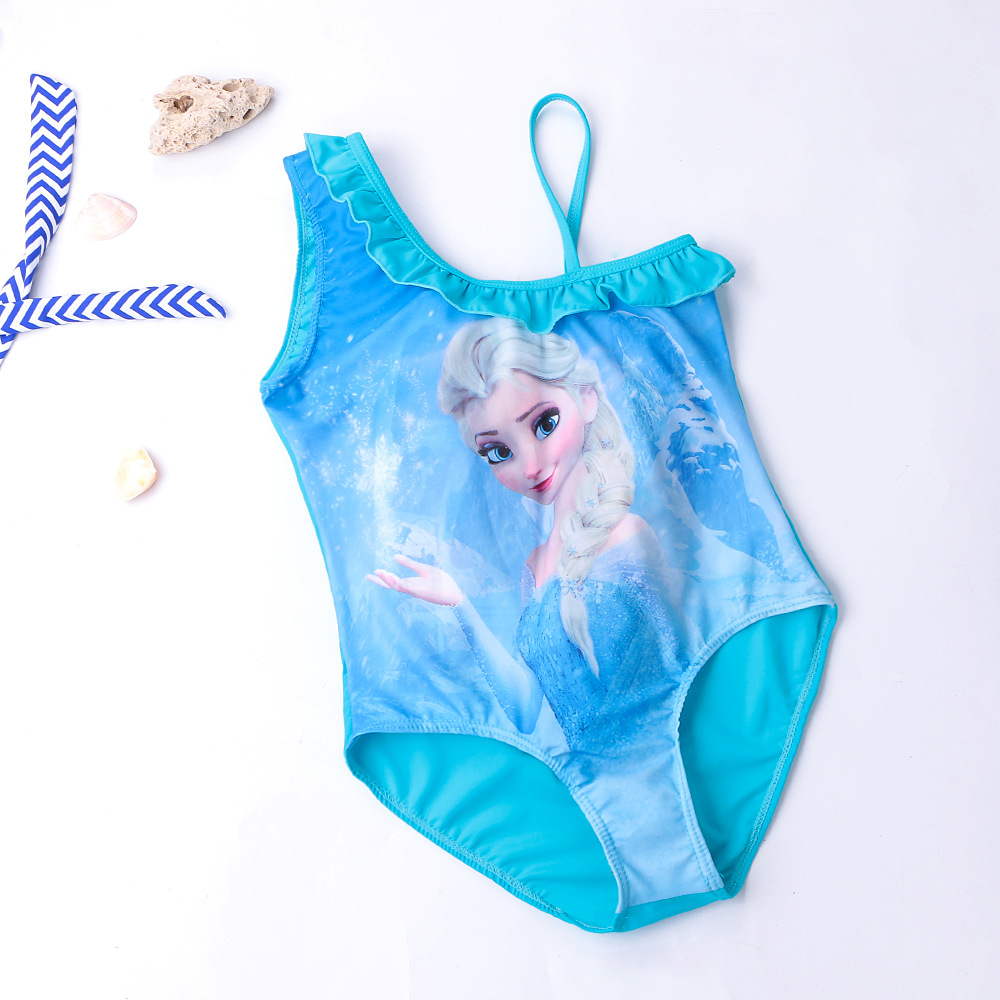 Kid Girls Print FROZEN Lisa Ruffles Blue Swimsuit