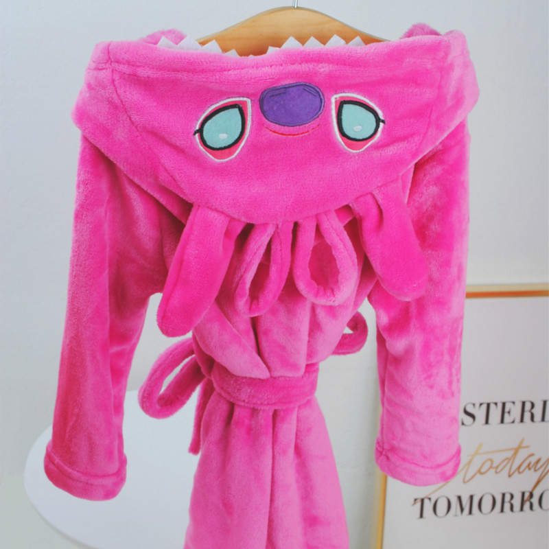 Kids Stitch Hooded Bathrobe Sleepwear Comfortable Loungewear