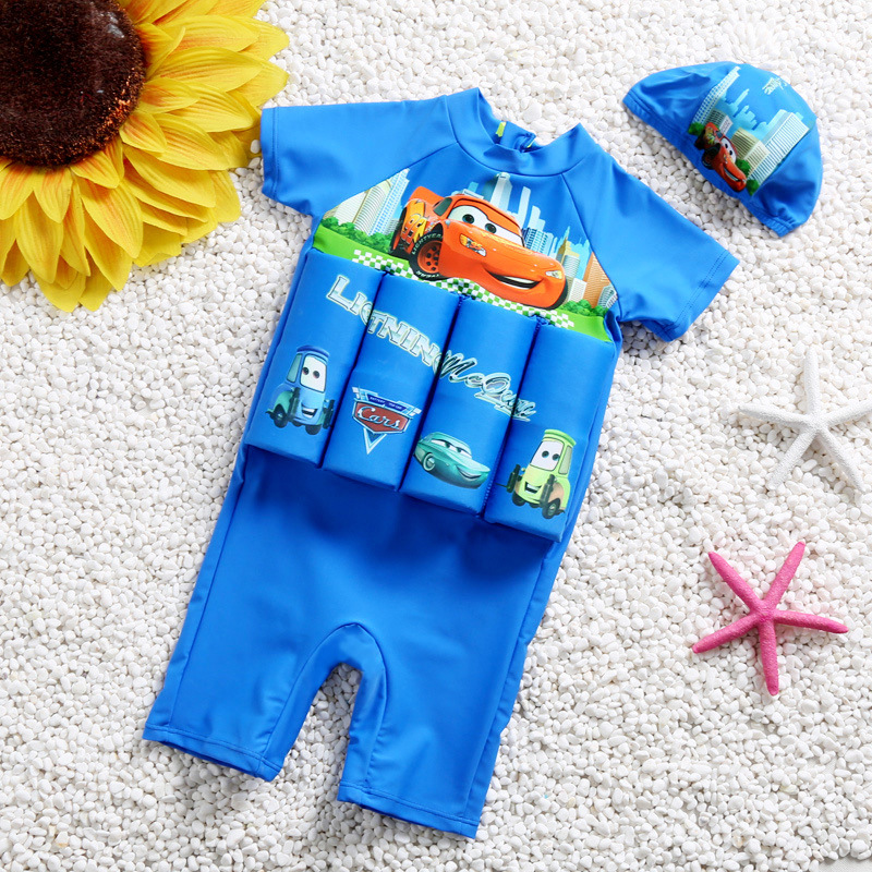 Kid Boys Print Racing Cars Float Adjustable Buoyancy Blue Swimsuit with Cap