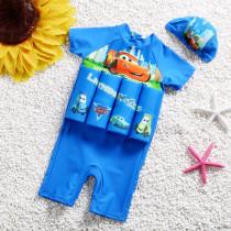 Kid Boys Print Racing Cars Float Adjustable Buoyancy Blue Swimsuit with Cap