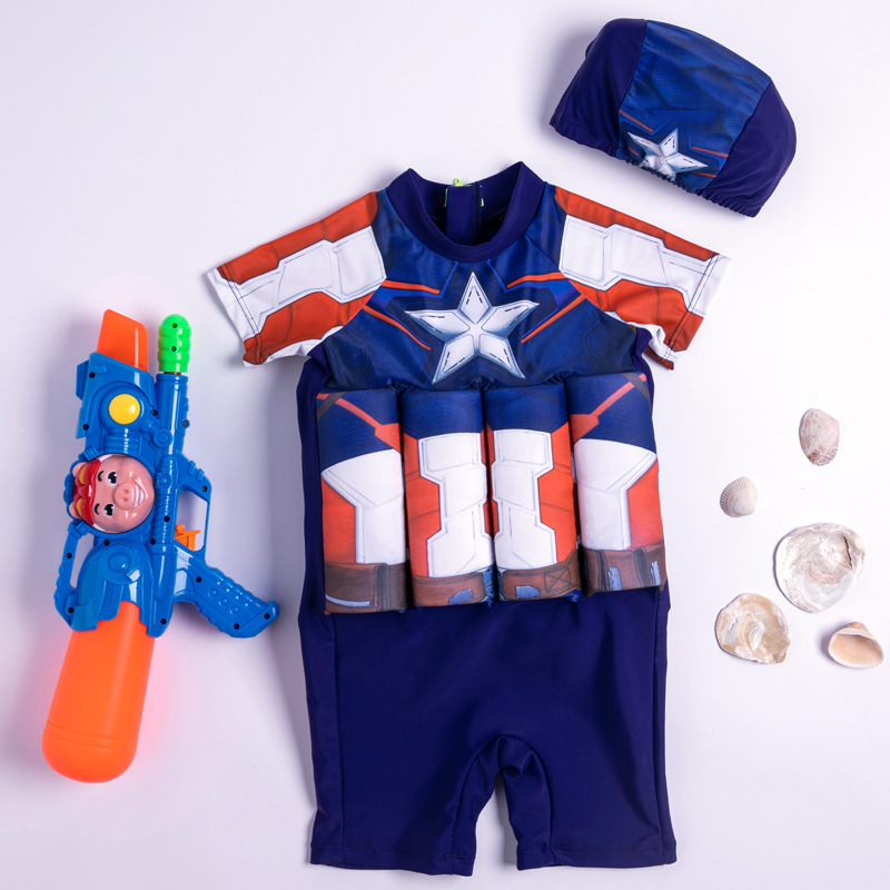 Kid Boys Print Captain America Float Adjustable Buoyancy Swimsuit with Cap