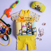 Kid Girls Print Yellow Ducks Float Adjustable Buoyancy Swimsuit with Cap