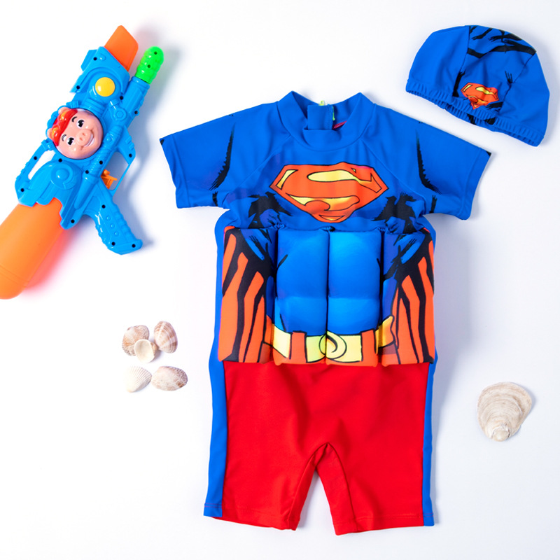 Kid Boys Print Super Man Float Adjustable Buoyancy Blue Swimsuit with Cap