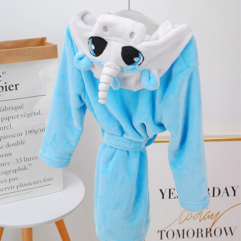 Kids Unicon Hooded Bathrobe Sleepwear Comfortable Loungewear
